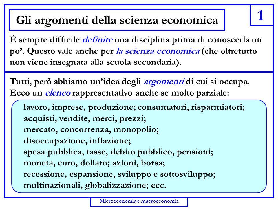 Gli argomenti della scienza economica