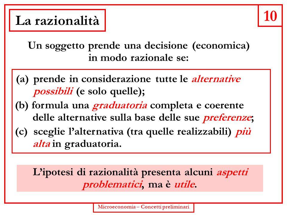 10 La razionalità Un soggetto prende una decisione (economica)