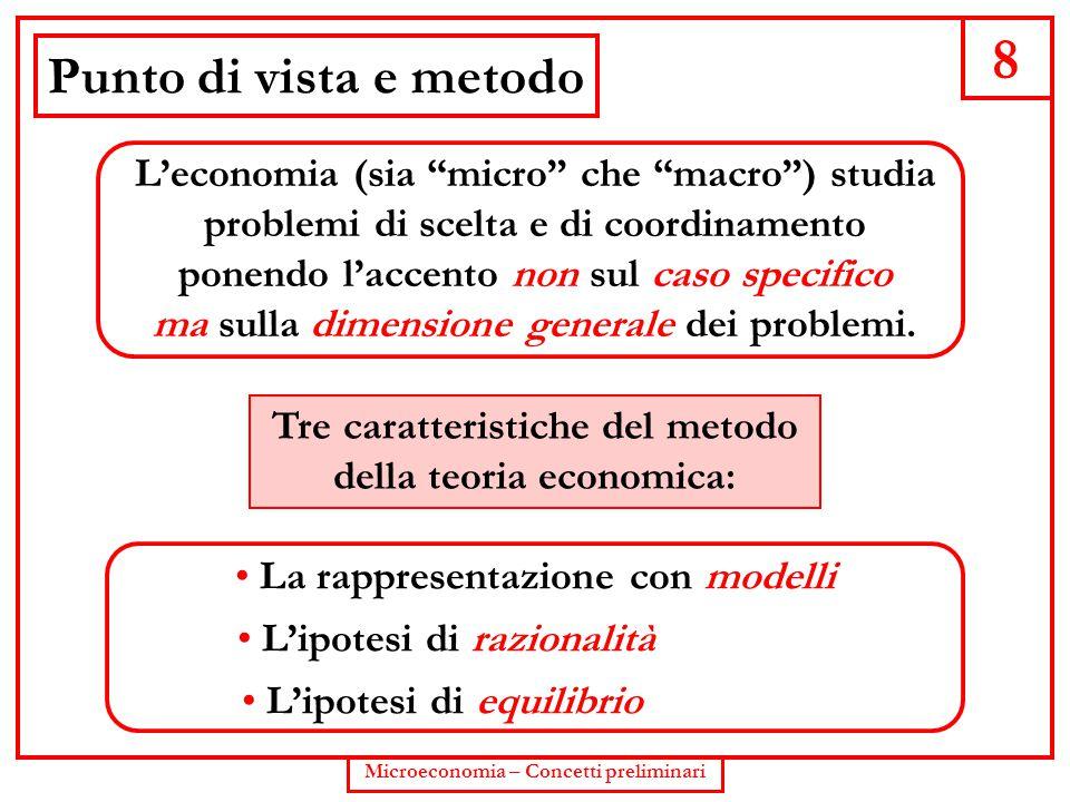 8 Punto di vista e metodo. L'economia (sia micro che macro ) studia problemi di scelta e di coordinamento.