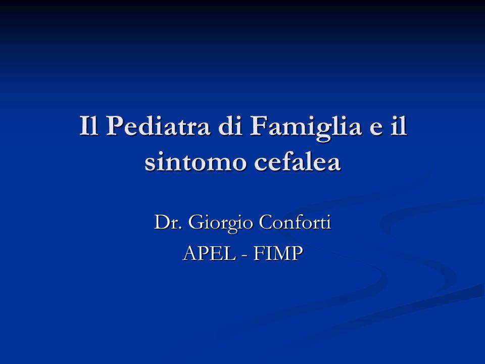 Il Pediatra di Famiglia e il sintomo cefalea
