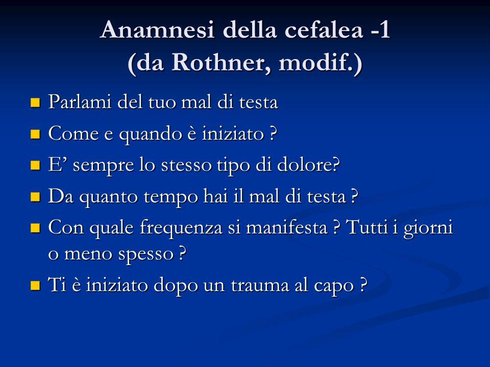 Anamnesi della cefalea -1 (da Rothner, modif.)