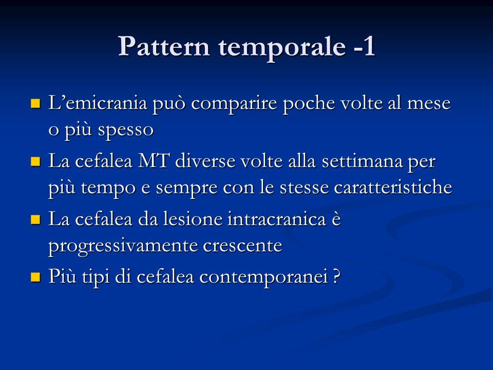Pattern temporale -1 L'emicrania può comparire poche volte al mese o più spesso.