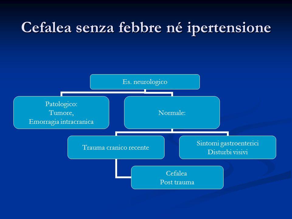 Cefalea senza febbre né ipertensione