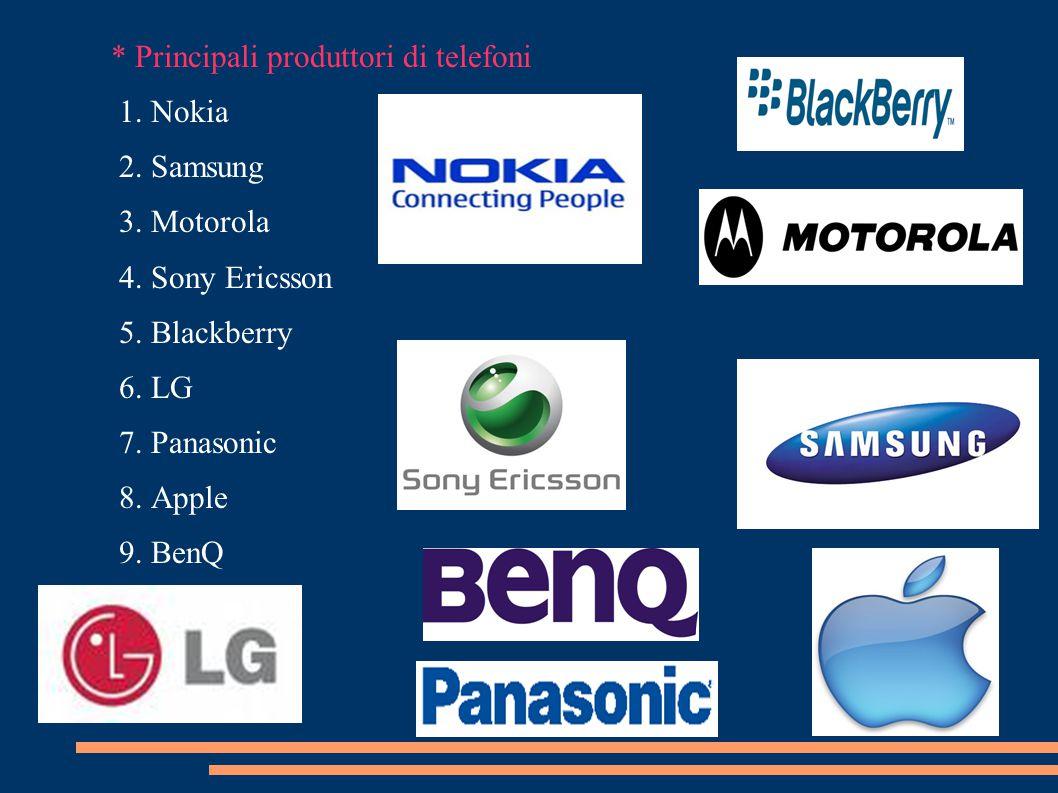 * Principali produttori di telefoni