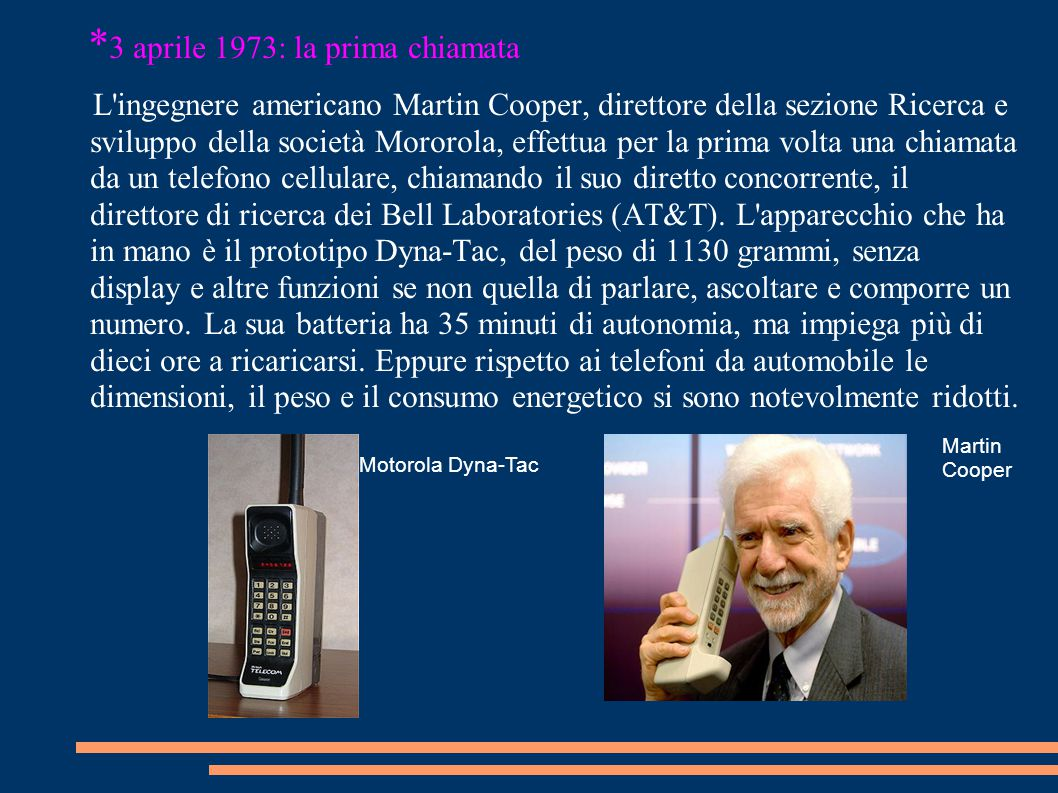 *3 aprile 1973: la prima chiamata