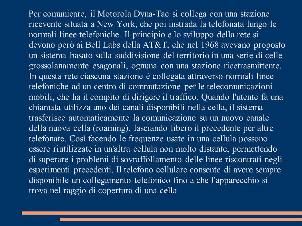 Per comunicare, il Motorola Dyna-Tac si collega con una stazione ricevente situata a New York, che poi instrada la telefonata lungo le normali linee telefoniche.