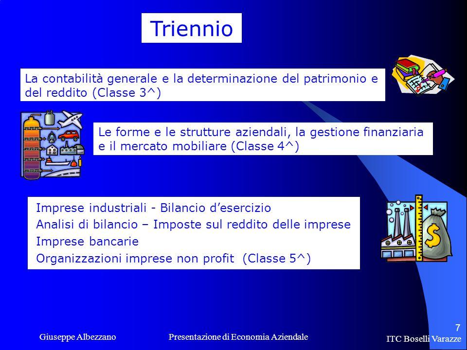 Triennio La contabilità generale e la determinazione del patrimonio e del reddito (Classe 3^)
