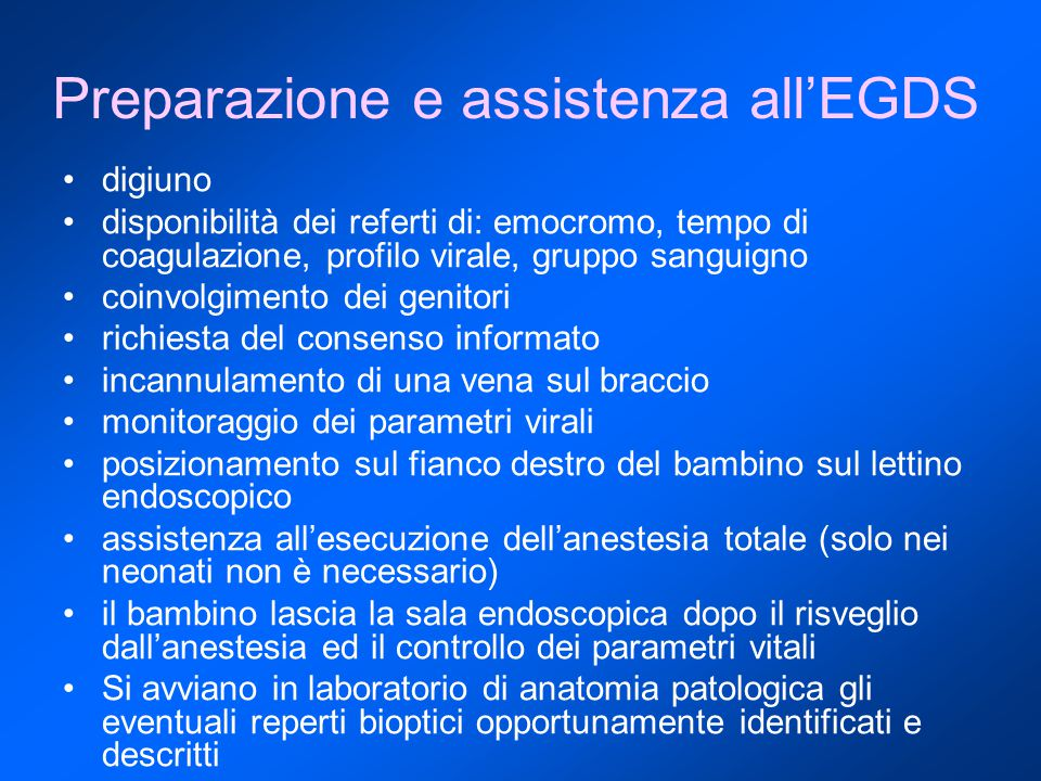 Preparazione e assistenza all'EGDS