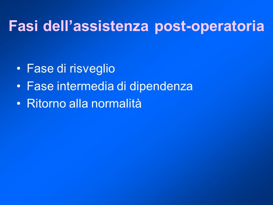 Fasi dell'assistenza post-operatoria