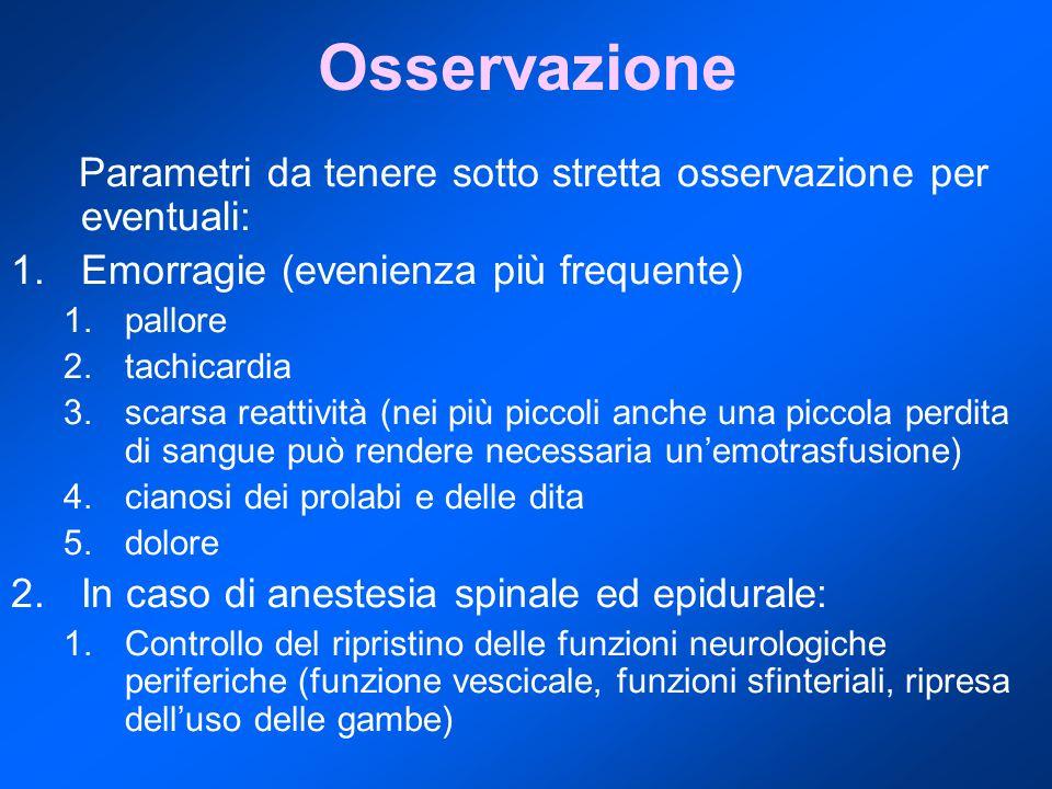 Osservazione Parametri da tenere sotto stretta osservazione per eventuali: Emorragie (evenienza più frequente)