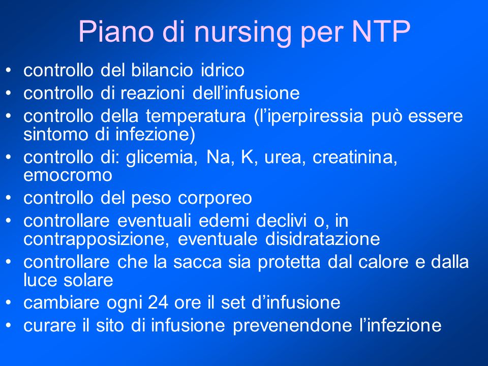 Piano di nursing per NTP