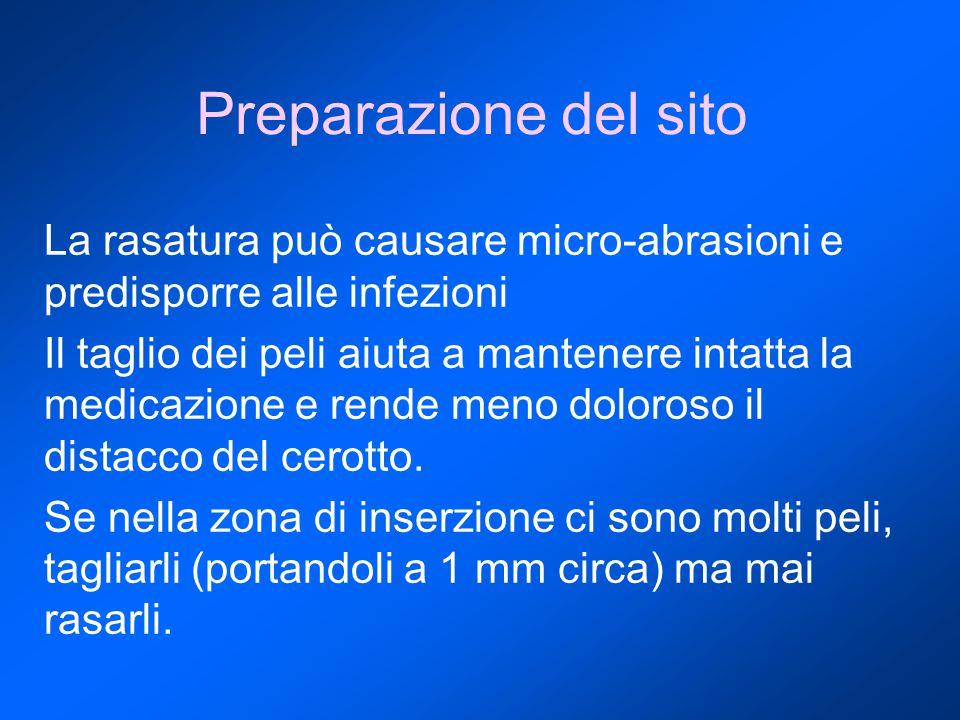 Preparazione del sito La rasatura può causare micro-abrasioni e predisporre alle infezioni.