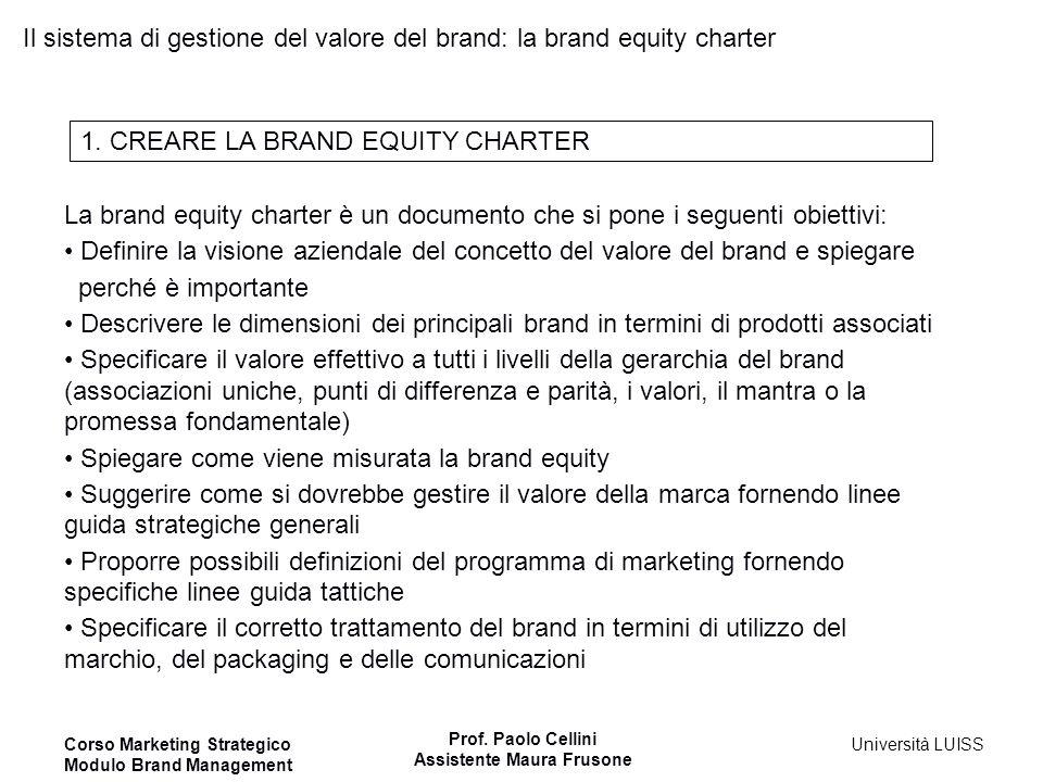 Il sistema di gestione del valore del brand: la brand equity charter