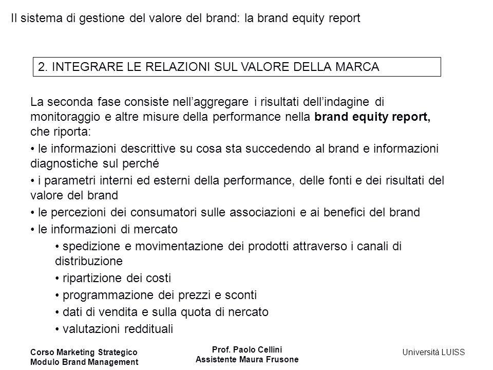 Il sistema di gestione del valore del brand: la brand equity report