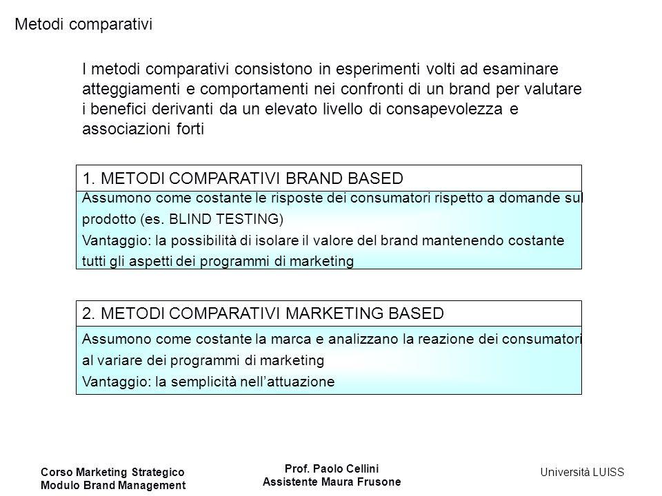 I metodi comparativi consistono in esperimenti volti ad esaminare