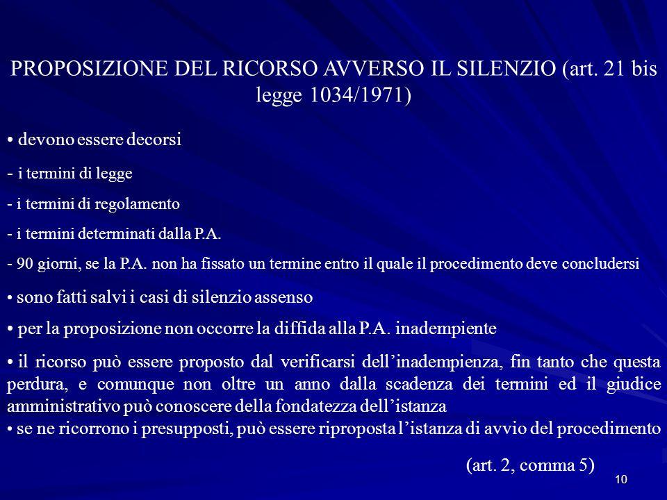 PROPOSIZIONE DEL RICORSO AVVERSO IL SILENZIO (art