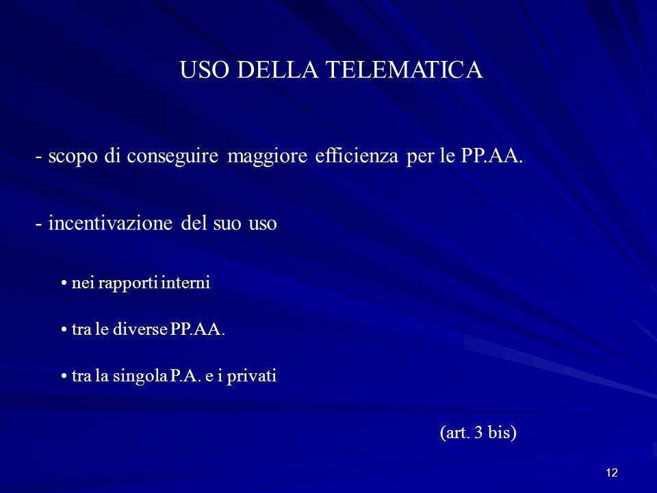 USO DELLA TELEMATICA - scopo di conseguire maggiore efficienza per le PP.AA. - incentivazione del suo uso.
