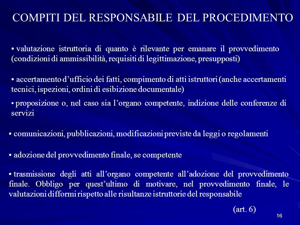 COMPITI DEL RESPONSABILE DEL PROCEDIMENTO