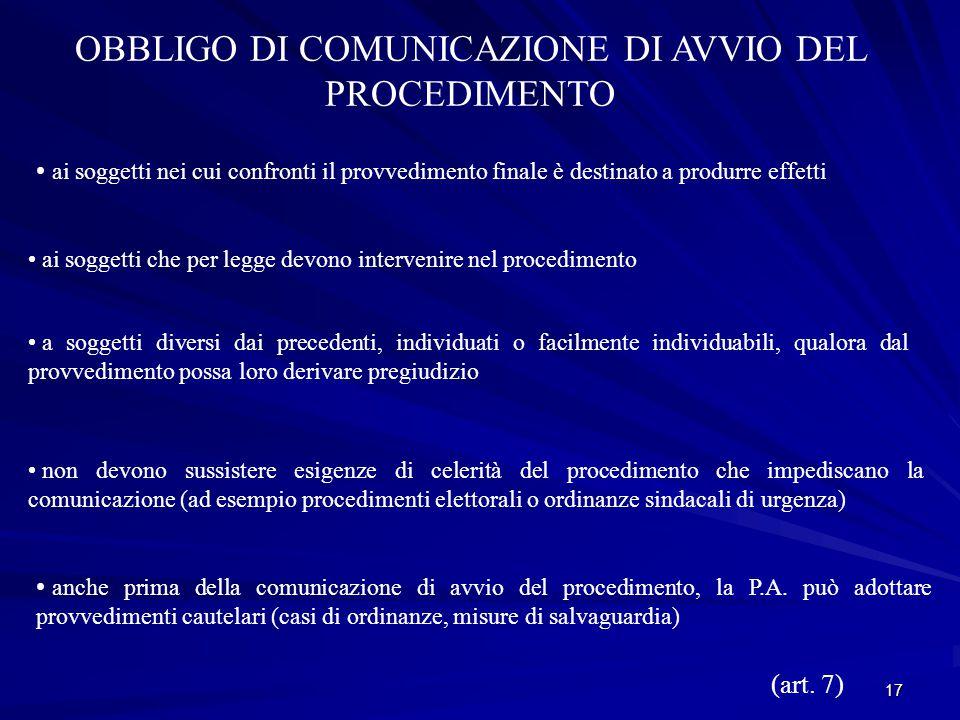 OBBLIGO DI COMUNICAZIONE DI AVVIO DEL PROCEDIMENTO