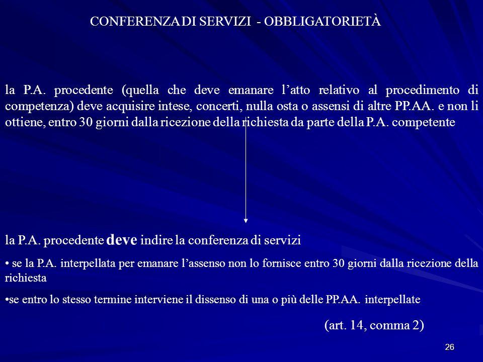 CONFERENZA DI SERVIZI - OBBLIGATORIETÀ
