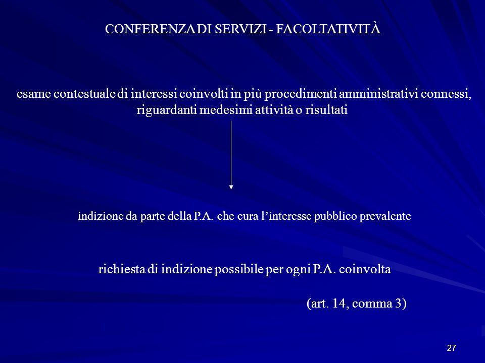 CONFERENZA DI SERVIZI - FACOLTATIVITÀ