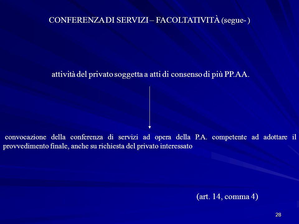 CONFERENZA DI SERVIZI – FACOLTATIVITÀ (segue- )