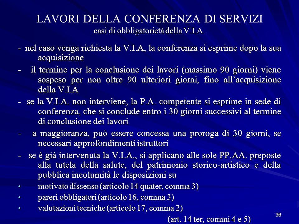 LAVORI DELLA CONFERENZA DI SERVIZI casi di obbligatorietà della V.I.A.