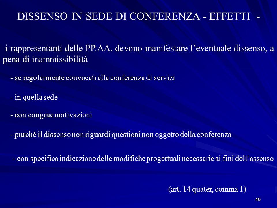 DISSENSO IN SEDE DI CONFERENZA - EFFETTI -