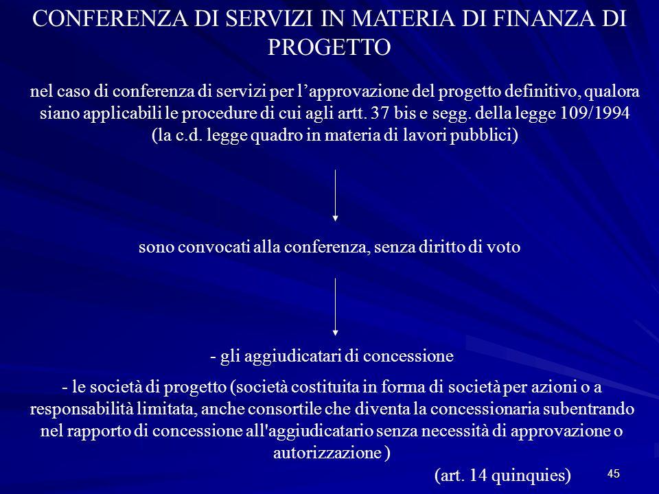 CONFERENZA DI SERVIZI IN MATERIA DI FINANZA DI PROGETTO