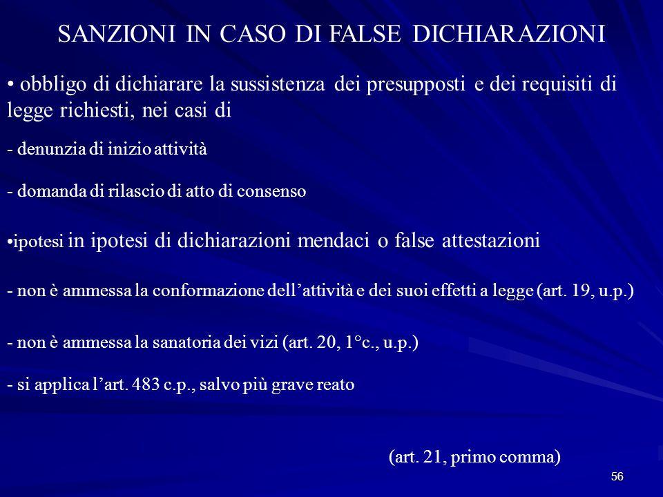 SANZIONI IN CASO DI FALSE DICHIARAZIONI