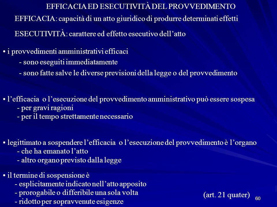 EFFICACIA ED ESECUTIVITÀ DEL PROVVEDIMENTO