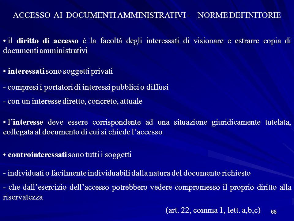 ACCESSO AI DOCUMENTI AMMINISTRATIVI - NORME DEFINITORIE
