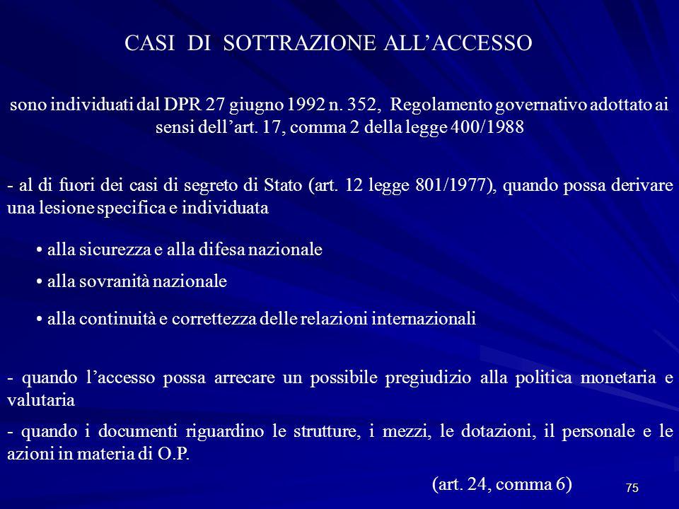 CASI DI SOTTRAZIONE ALL'ACCESSO