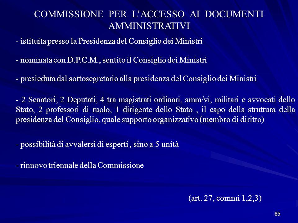 COMMISSIONE PER L'ACCESSO AI DOCUMENTI AMMINISTRATIVI