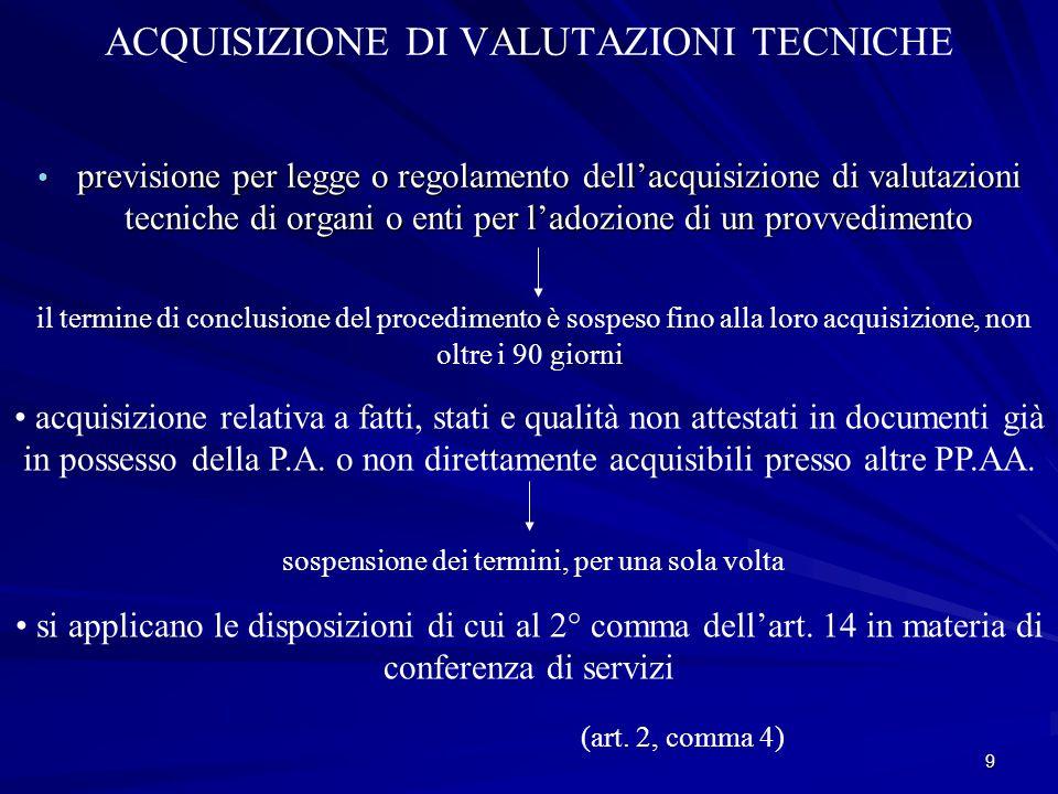 ACQUISIZIONE DI VALUTAZIONI TECNICHE