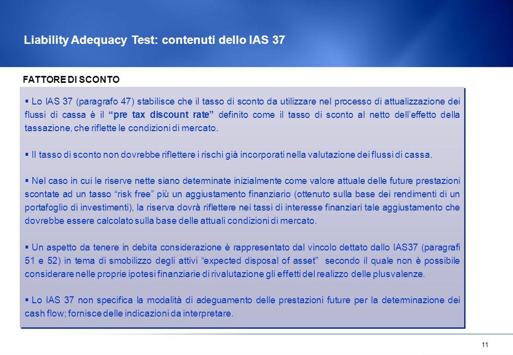 Liability Adequacy Test: contenuti dello IAS 37