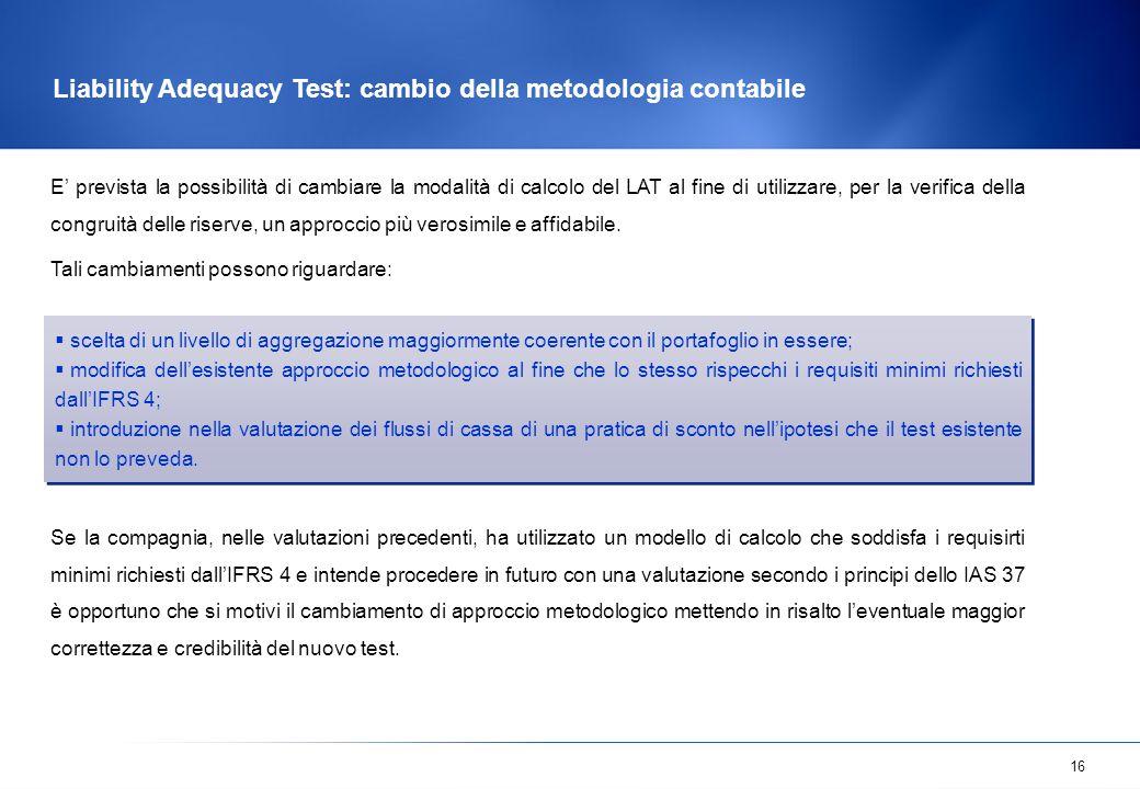 Liability Adequacy Test: cambio della metodologia contabile