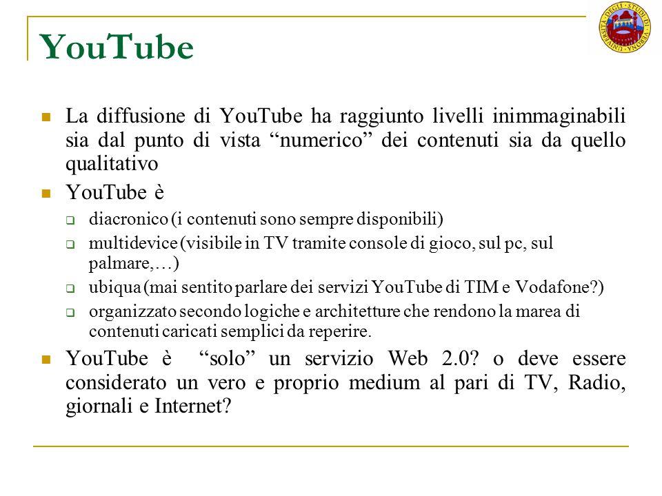 YouTube La diffusione di YouTube ha raggiunto livelli inimmaginabili sia dal punto di vista numerico dei contenuti sia da quello qualitativo.