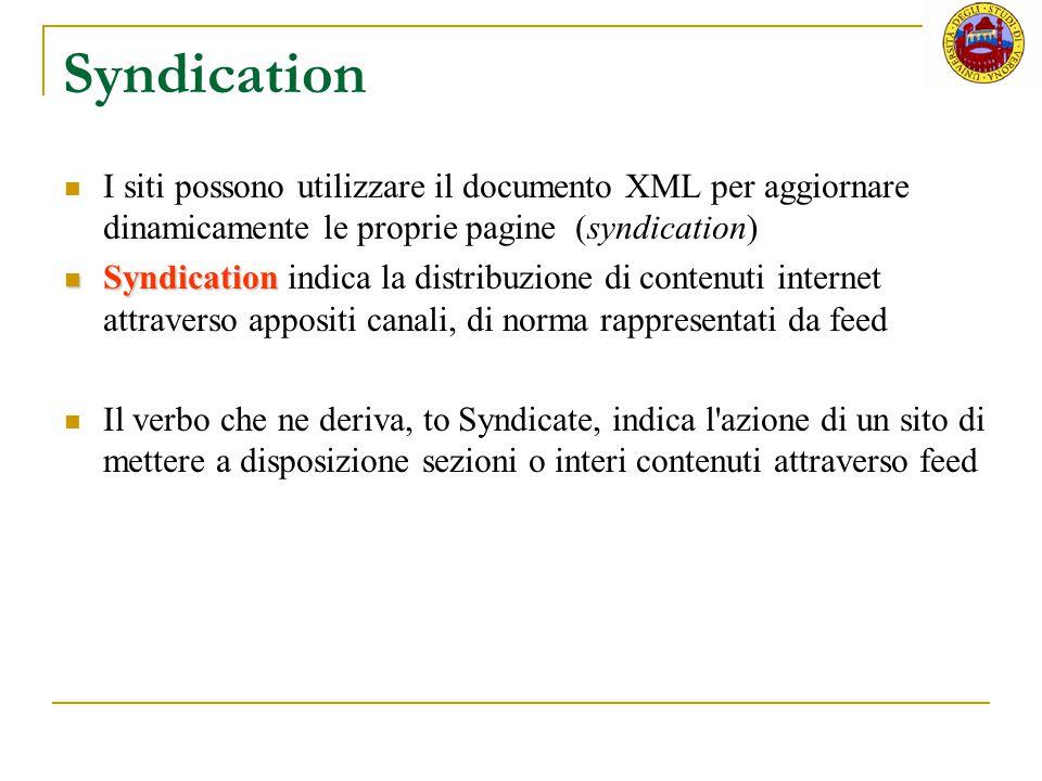 Syndication I siti possono utilizzare il documento XML per aggiornare dinamicamente le proprie pagine (syndication)