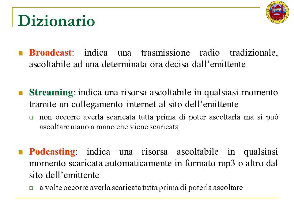 Dizionario Broadcast: indica una trasmissione radio tradizionale, ascoltabile ad una determinata ora decisa dall'emittente.