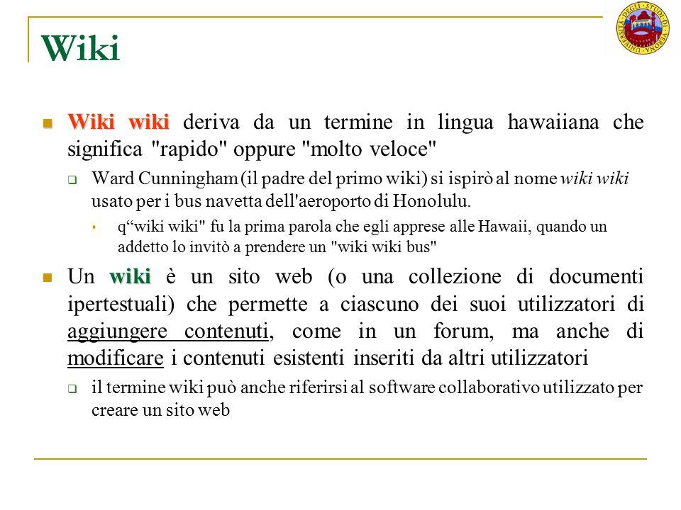 Wiki Wiki wiki deriva da un termine in lingua hawaiiana che significa rapido oppure molto veloce