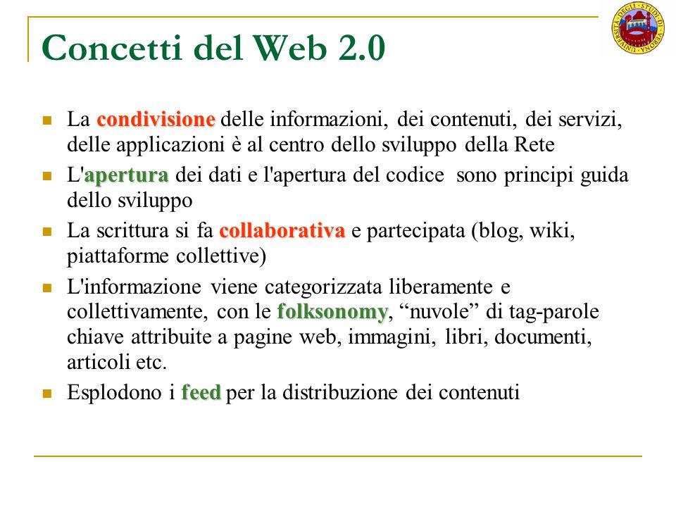 Concetti del Web 2.0 La condivisione delle informazioni, dei contenuti, dei servizi, delle applicazioni è al centro dello sviluppo della Rete.