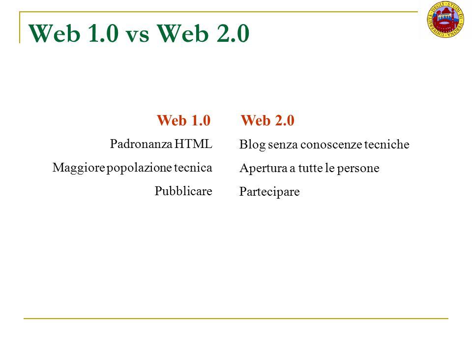 Web 1.0 vs Web 2.0 Web 1.0 Web 2.0 Padronanza HTML