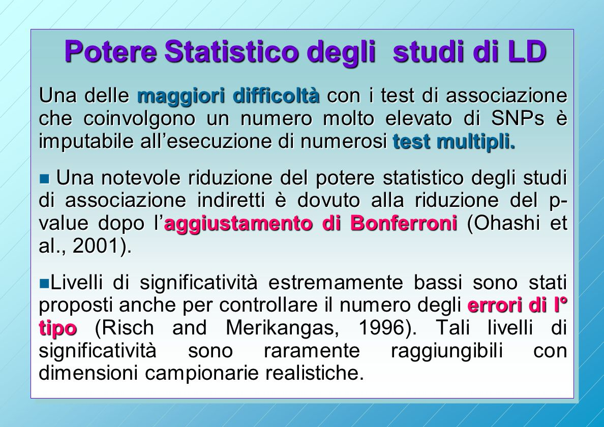 Potere Statistico degli studi di LD