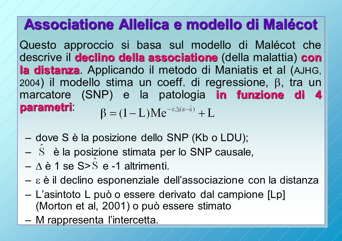 Associatione Allelica e modello di Malécot