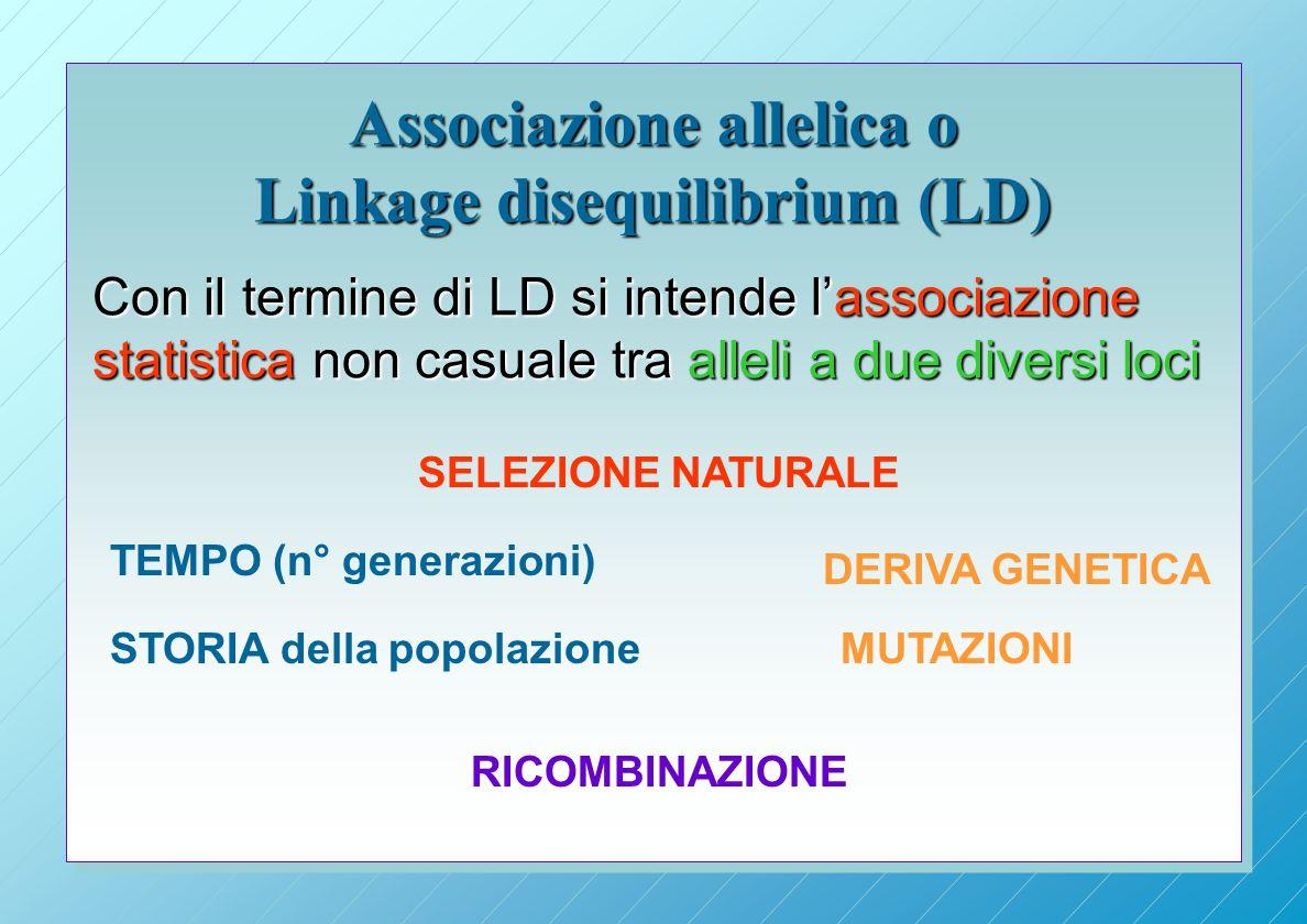 Associazione allelica o Linkage disequilibrium (LD)