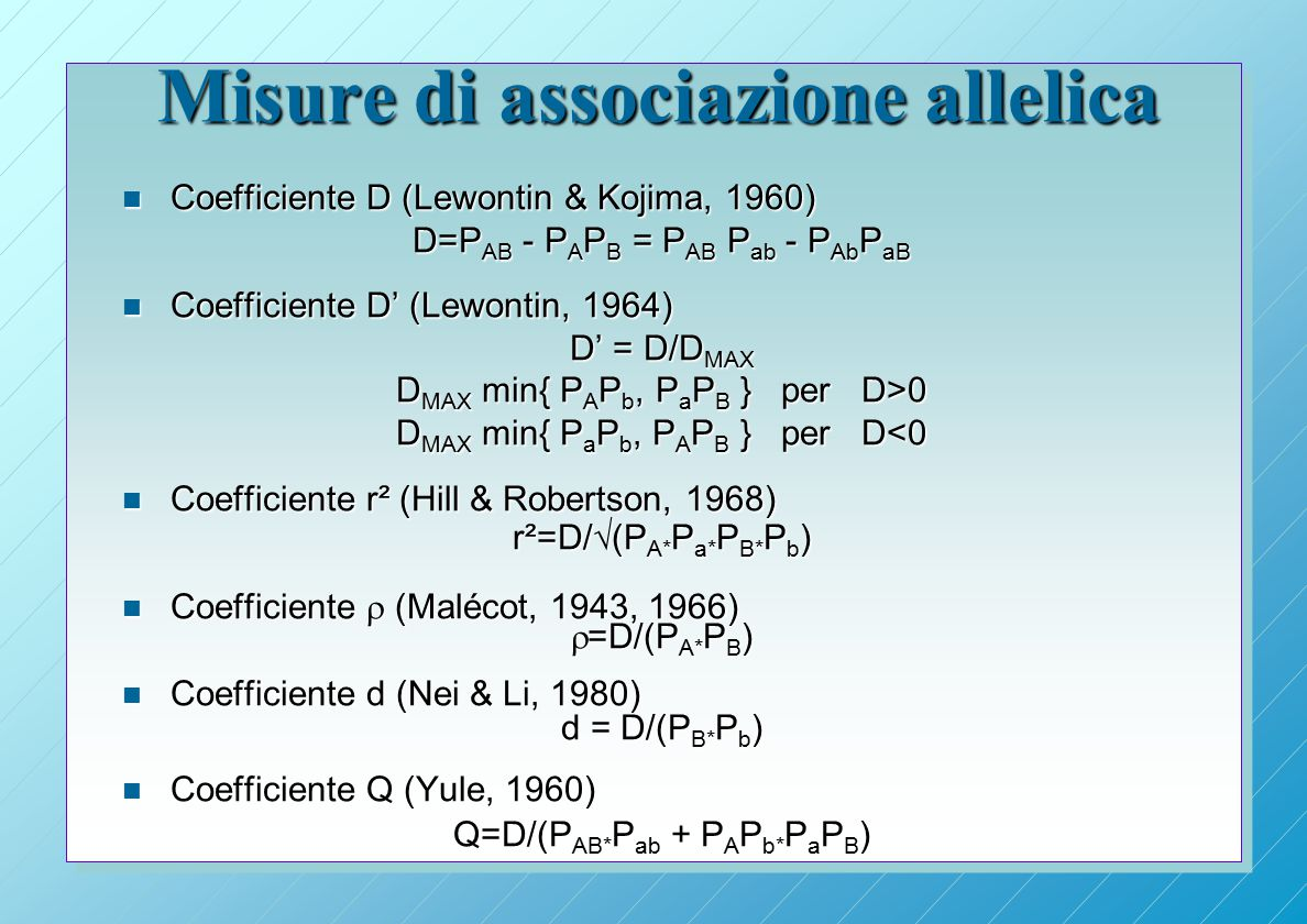 Misure di associazione allelica