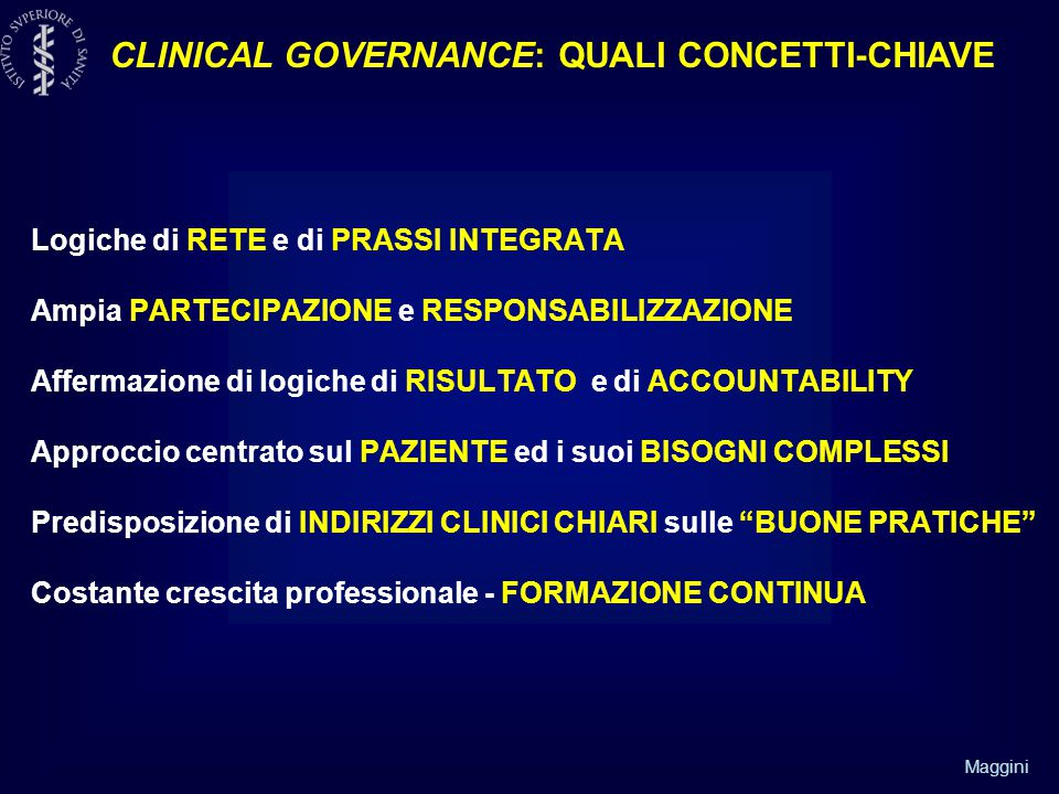 CLINICAL GOVERNANCE: QUALI CONCETTI-CHIAVE