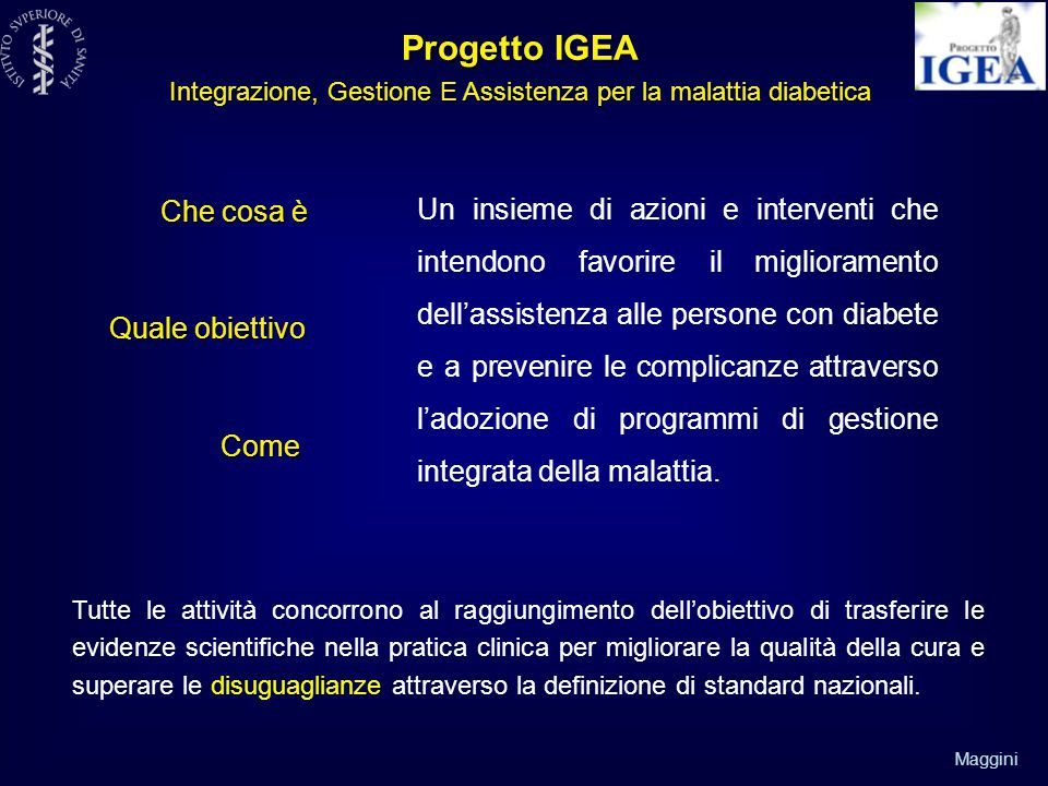 Progetto IGEA Integrazione, Gestione E Assistenza per la malattia diabetica