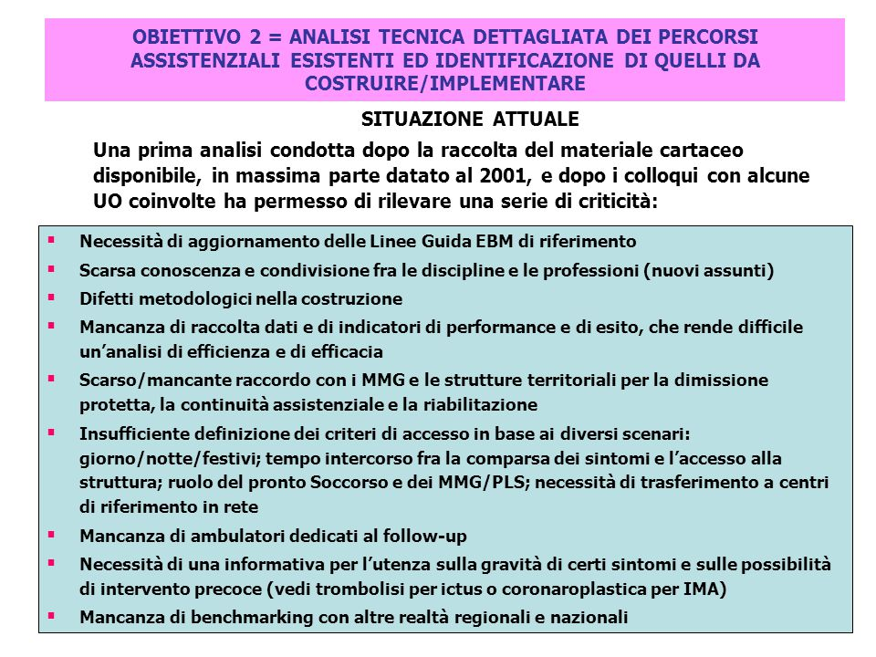 OBIETTIVO 2 = ANALISI TECNICA DETTAGLIATA DEI PERCORSI ASSISTENZIALI ESISTENTI ED IDENTIFICAZIONE DI QUELLI DA COSTRUIRE/IMPLEMENTARE